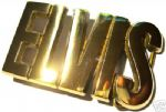 ELVIS LETTERS - SOLID BRASS Belt Buckle + display stand. Product code: ZV3